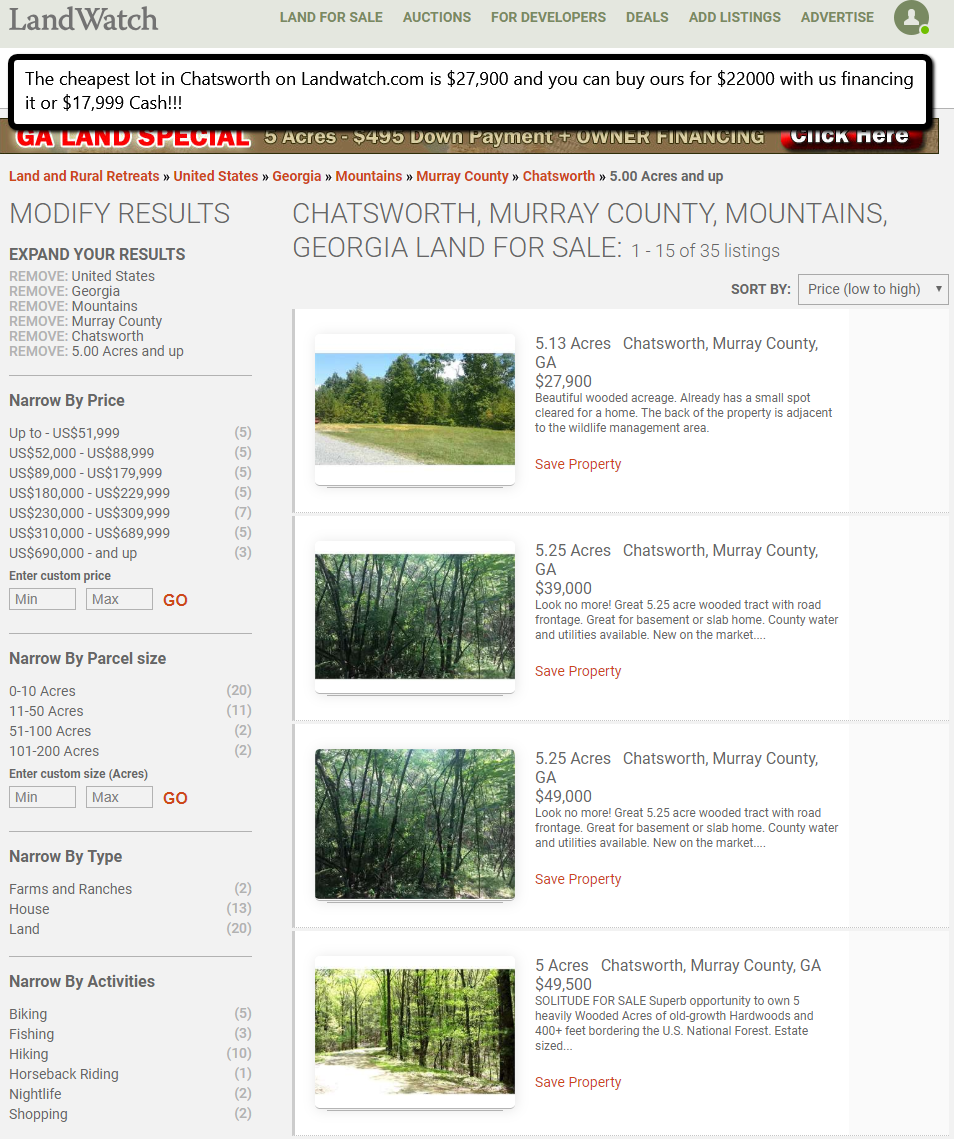 6 9 Acres Near Highway 411 Chatsworth Georgia Listed at only